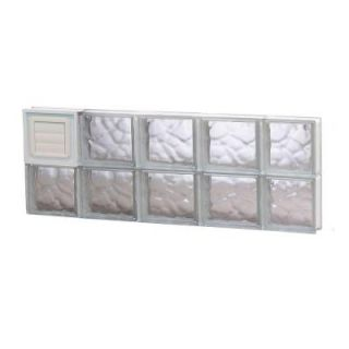 Clearly Secure 34.75 in. x 11.5 in. x 3.125 in. Wave Pattern Glass Block Window with Dryer Vent 3612SDCDV
