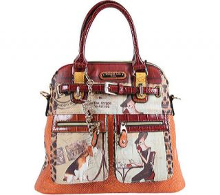 Womens Nicole Lee Claire Blocked Euro Print Tote   Coffee