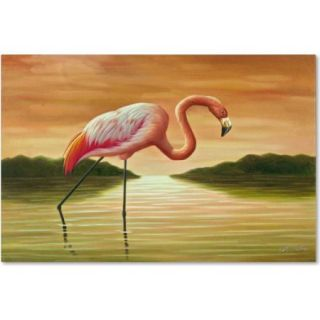 "Trademark Fine Art ""Pink Flamingo"" Canvas Art by Victor Giton"