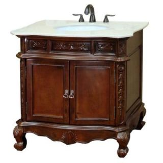 Bellaterra Home Ashby 34 6/10 in. W x 36 in. H Single Vanity in Walnut with Marble Vanity Top in Cream 202016A S