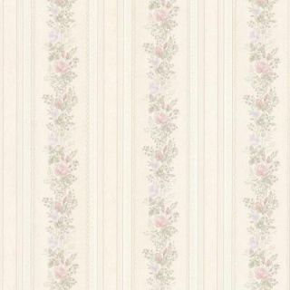 Mirage 56 sq. ft. Alexis Pastel Satin Floral Stripe Wallpaper 992 68349