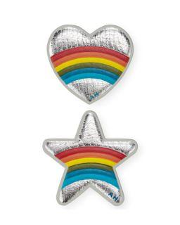 Anya Hindmarch Mini Star and Heart Rainbow Stickers for Handbag, Silver
