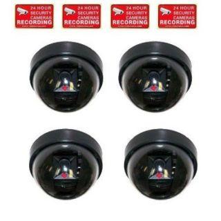 VideoSecu 4 Pack Dummy Fake Infrared IR LED Imitation Simulated Security Camera with Blinking Flashing Light Indoor ag6