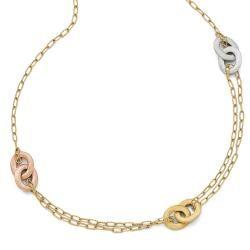 Italian 14k Tri Color Gold Textured Diamond Cut Necklace   17 inches