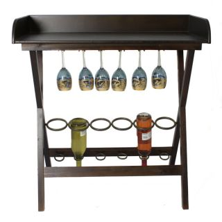 Casa Cortes 6 bottle Wood Wine Rack And Entertaining Table   15727567
