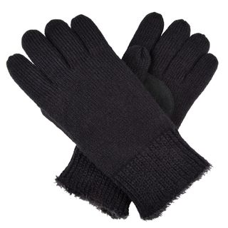 Isotoner Womens Solid Color Knit Gloves with Suede Finger Grips
