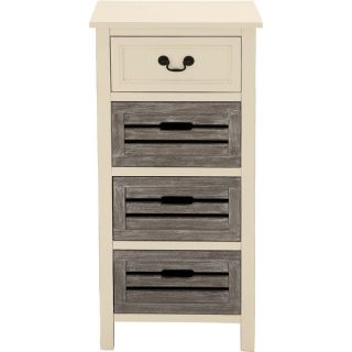 Casa Cortes Nantucket 4 Drawer Solid Wood Two Tone Night Stand