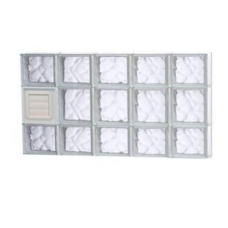 Clearly Secure 38.75 in. x 19.25 in. x 3.125 in. Wave Pattern Glass Block Window with Dryer Vent 4020SDCDV