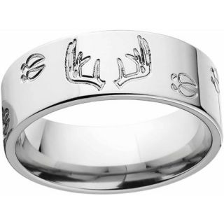 Men's Deer Track and Rack Durable 8mm Stainless Steel Wedding Band with Comfort Fit Design
