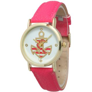 Olivia Pratt Womens Anchor Emblem Leather Band Watch   17265910