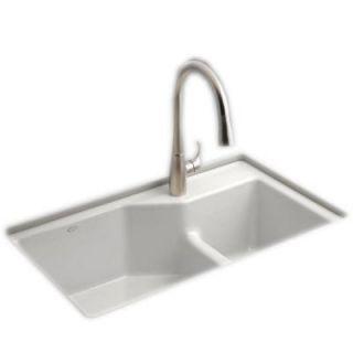 KOHLER Indio Smart Divide Undermount Cast Iron 33 in. 1 Hole Double Bowl Kitchen Sink in White K 6411 1 0