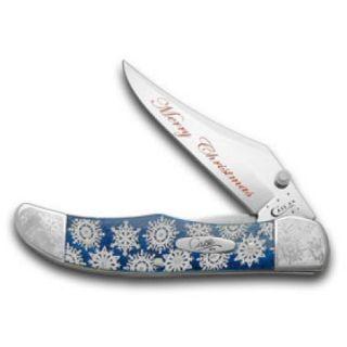 CASE XX Navy Blue Bone Snowflake Merry Christmas Folding Hunter Pocket Knife Knives