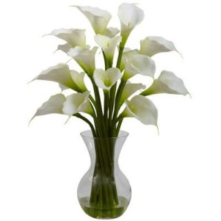 Nearly Natural Galla Calla Lily with Vase Arrangement in Cream 1299 CR