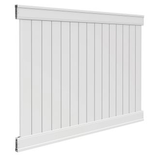 Freedom Ready To Assemble Emblem White Vinyl Privacy Fence Panel (Common: 6 ft x 8 ft; Actual: 6 ft x 7.82 ft)