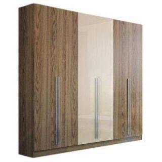 Manhattan Comfort Eldridge 6 Door Wardrobe in Chocolate Pro Touch/Metallic Nude 34150