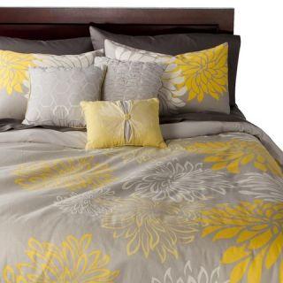 Anya 6 Piece Floral Print Duvet Cover Set   Gray/Yellow