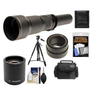 Rokinon 650 1300mm f/8 16 Telephoto Lens & 2x Teleconverter (= 650 2600mm) with Case + Tripod + Accessory Kit for Sony Alpha NEX C3, NEX F3, NEX 5, NEX 5N, NEX 7 Digital Cameras