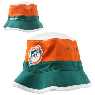 Mitchell & Ness Miami Dolphins Color Block Bucket Hat   Aqua/Orange