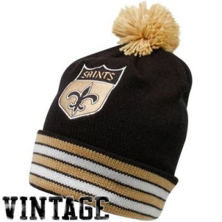 Mitchell & Ness New Orleans Saints Black Gold Throwback Jersey Striped Cuffed Knit Beanie
