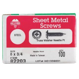 Hillman 8 x 3/4in Self Piercing Screws (82203)   Self Taping