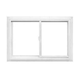 American Craftsman 36 in. x 36 in. 50 Series Sliding Left Handling Fin Vinyl Window   White 50 SLIDER FIN