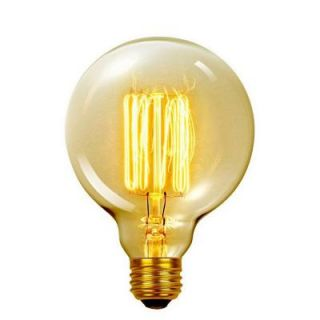 Globe Electric 60 Watt Incandescent G40 E26 Vintage Edison Vanity Tungsten Filament Light Bulb   Antique Edison 01320