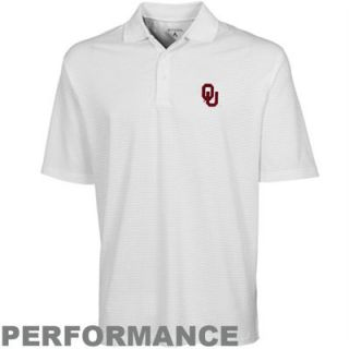 Antigua Oklahoma Sooners White Phoenix Performance Polo