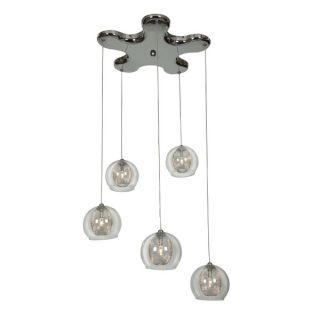 Access Lighting Aeria Metal Foil Clear Glass Pendant Cluster with