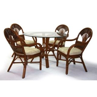 Boca Rattan 22013TD Tradewinds Dining Round Table in Urban Mahogany with 42 Dia Beveled Glass Top