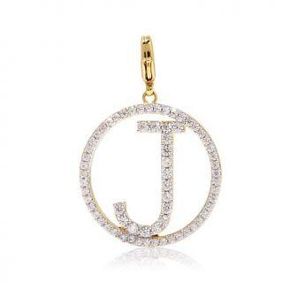 "Jewels by Jen ""Charming Letters"" CZ Goldtone Negative Space Pavé Initial   7910228"