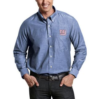 New York Giants Antigua Sharp Woven Long Sleeve Button Down Shirt   Royal Blue