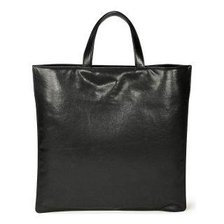 Loewe Vega Shopper Black Leather Tote Handbag Item No. 359.22.H93