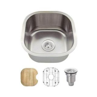 MR Direct All in One Undermount Stainless Steel 16 in. Single Bowl Bar Sink 1716 16 ENS
