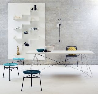 Centro Stackable stool Petrol blue by OK Design pour Sentou Edition