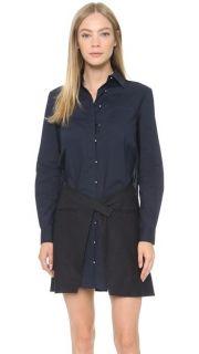 Derek Lam 10 Crosby Shirtdress with Pinstripe Skirt