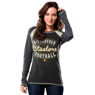 Pittsburgh Steelers Majestic Womens Fantasy League Long Sleeve T Shirt   Black/Gray