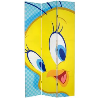 Oriental Furniture 84 x 51 Tall Double Sided Tweety and Taz 3 Panel
