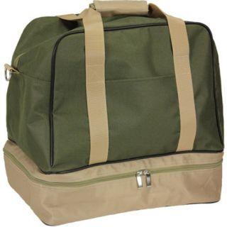 Olive Weekender Bag with Shoe Pocket and Expandable Shoulder Strap