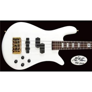 EURO4LXSTARR Spector Bass Spector Bass Euro4LX Mike Starr Signature Bass Guitar, 24 Frets, Maple Neck, Passive Pickup, Active Preamp, Limited Edition, Solid White Gloss