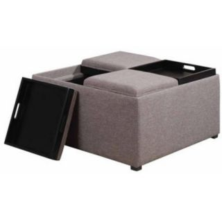 Brooklyn + Max Lincoln Coffee Table Storage Ottoman with 4 Serving Trays