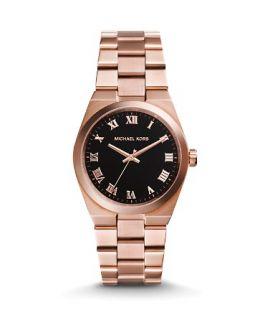 Michael Kors Rose Gold�Tone & Genuine Onyx Channing Watch, 38mm