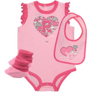 Majestic Pittsburgh Pirates Infant Girls Triple Play II 3 Piece Creeper Set   Pink