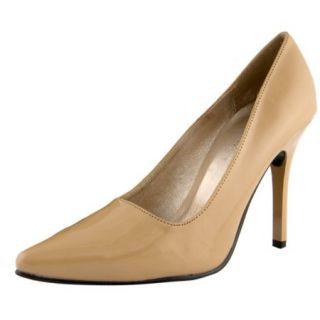 "Women's Highest Heel Shoes 4"" Classic Plain Pump   Nude Patent PU"