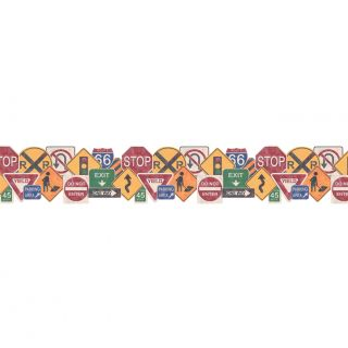 Whimsical Childrens Vol. 1 Road Sign 15 x 9 Border Wallpaper by 4