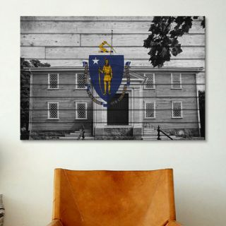 Massachusetts Flag, Grunge First Old Ship Church Graphic Art on Canvas