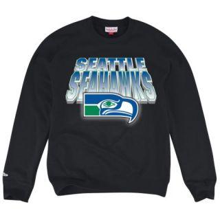 "Seattle Seahawks Mitchell & Ness NFL ""Block & Blur"" Crew Sweatshirt   Black"