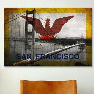 Flags San Francisco Golden Gate Bridge Graphic Art on Canvas