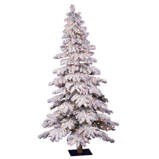 Vickerman Flocked Spruce Alpine 7 White Artificial Christmas Tree