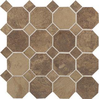 Aspen Lodge Random Sized Ceramic Mosaic Field Tile in Cotto Mist