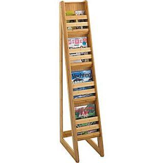 Safco 4 Pocket Bamboo Magazine Floor Display, Natural